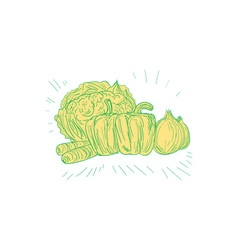 Brocolli Capsicum Onion Drawing vector