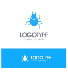 Bug nature virus indian blue solid logo with vector