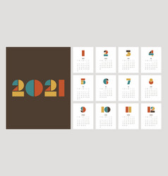 Calendar 2021 design template decorative with vector