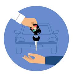 car rental round blue icon vector image
