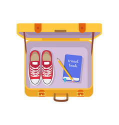 Case with travel book pencil and red sneakers vector