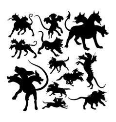 Cerberus ancient creature mythology silhouettes vector