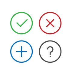 Check remove delete close add question faq icon vector