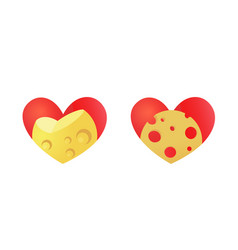 Cheese emblem with heart - set icons vector