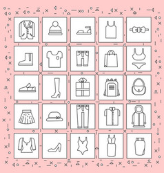 clothes items set of icons thin line on abstract vector image