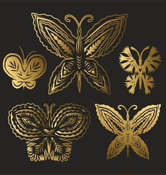 collection gold butterflies vector image