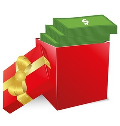 Concept of bonus Red box with gold bow full of vector