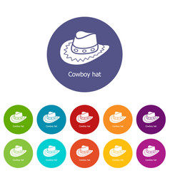 cowboy hat icons set color vector image