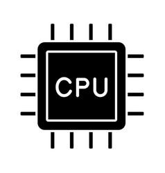 Cpu glyph icon vector