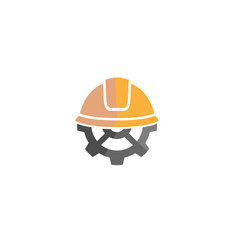 creative yellow hardhat construction helmet logo vector image