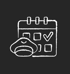 Crew scheduling chalk white icon on black vector