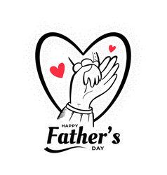 Dad holding son hand love fathers day background vector