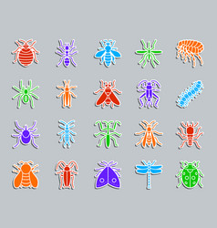 Danger insect patch sticker icons set vector