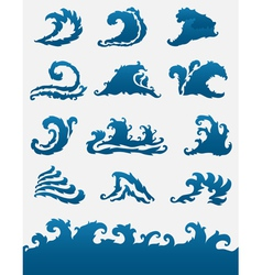 decorative sea waves set vector image