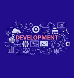 development poster with flat icons set vector image