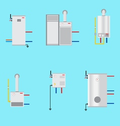 Different boilers icons set Flat style Electrical vector image