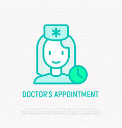 Doctor appointment thin line icon vector