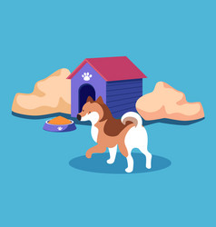doghouse dog kennel with pet bowl canine food vector image