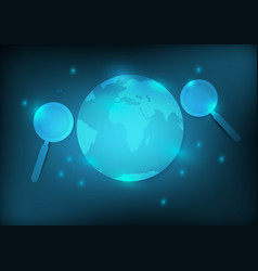 earth and magnifier with blue background vector image
