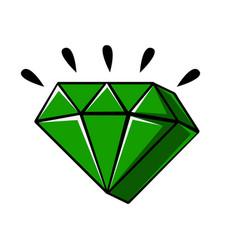Emerald crystal of a diamond shape comic vector