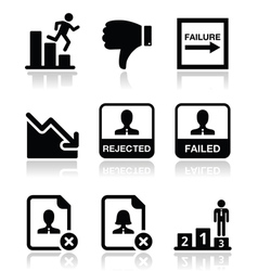 Failure rejected man icons set vector