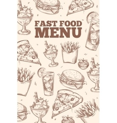 Fast food doodles background vector image