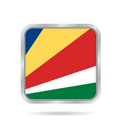 flag of seychelles metallic gray square button vector image