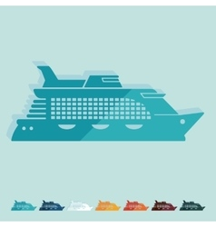 Flat design cruise ship vector