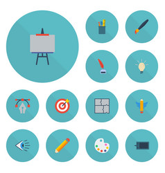 flat icons pen eye gadget and other vector image