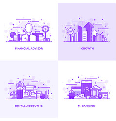 Flat line purple designed concepts 5 vector