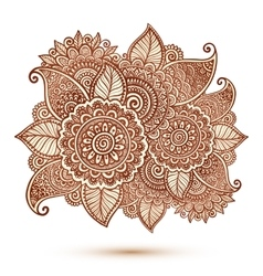 Floral element in Indian henna tattoo style vector