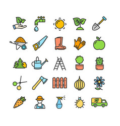 gardening signs color thin line icon set vector image