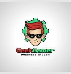 geek gamer is a gamer hobbies logo or logo for vector image