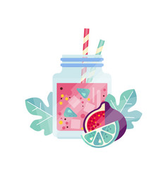 Glass jars with sweet refreshing drink summer vector