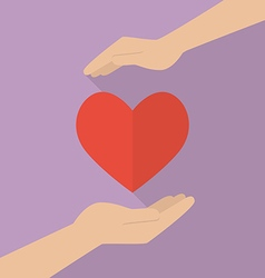 Hands holding heart icon vector