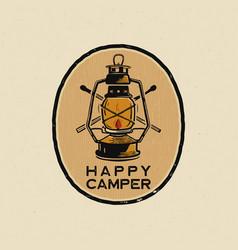 happy camper logo design print camping lantern vector image