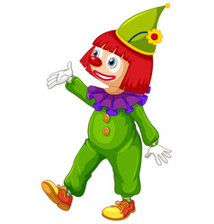 Happy clown in green jumpsuit on white background vector