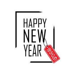 happy new year text in focus frame black border vector image