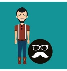 Hipster style character glasses and fashion vector