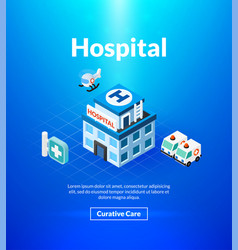 Hospital poster of isometric color design vector