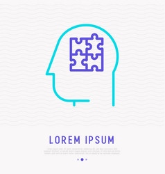 human head with puzzle inside thin line icon vector image