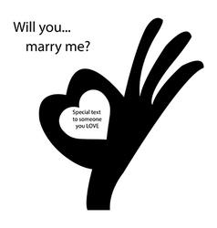 Human okay hand sign with heart shape vector
