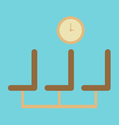 Icon in flat design for airport waiting hall vector