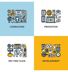 Icons set of consulting promotion pay per click vector
