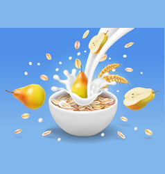 Instant oatmeal and pear in milk yogurt splash vector