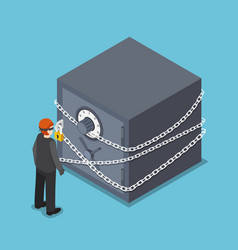 isometric thief standing in front of full vector image