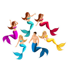 Isometry set of mermaids in different poses for vector