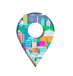 Location pin with city elements vector
