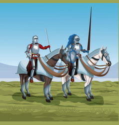 Medieval warriors with horses on battlefield vector