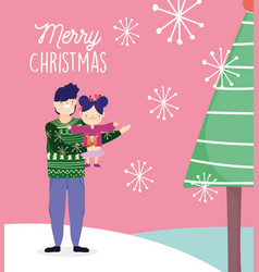 merry christmas father and daughter ugly sweater vector image